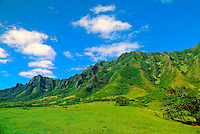 Kualoa Ranch, a historic working cattle ranch, educational resource and visitor attraction on the coast of Windward Oahu. Many movies and TV shows, such as LOST, have been filmed here. Area shown is Hurley's golf course.
