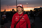 29th September 2017, AJ Bell Stadium, Salford, England; Aviva Premiership Rugby, Sale Sharks versus Gloucester; Gloucester Rugby's Billy Twelvetrees looks unhappy about arriving at the stadium an hour before kick off