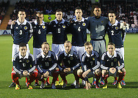 The Scotland  starting line up in the Scotland v Luxembourg UEFA Under 21 international qualifying match at St Mirren Park, Paisley on 6.9.12.