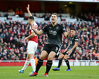 Burnley's Sam Vokes shows his frustration as he is judged to be offside<br /> <br /> Photographer David Shipman/CameraSport<br /> <br /> The Premier League - Arsenal v Burnley - Saturday 22nd December 2018 - The Emirates - London<br /> <br /> World Copyright © 2018 CameraSport. All rights reserved. 43 Linden Ave. Countesthorpe. Leicester. England. LE8 5PG - Tel: +44 (0) 116 277 4147 - admin@camerasport.com - www.camerasport.com