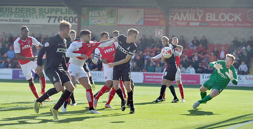 Fleetwood Town's Danny Andrew's shot is parried away by Bradford City's Ben Williams<br /> <br /> Photographer Dave Howarth/CameraSport<br /> <br /> Football - The Football League Sky Bet League One -  Fleetwood Town v Bradford City - Saturday 12th September 2015 -  Highbury Stadium - Fleetwood <br /> <br /> &copy; CameraSport - 43 Linden Ave. Countesthorpe. Leicester. England. LE8 5PG - Tel: +44 (0) 116 277 4147 - admin@camerasport.com - www.camerasport.com