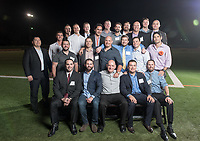 Group photo with some of the Occidental College football team that played with Andy Collins '07, including coach Dale Widolff.<br /> The Occidental community celebrates its student-athletes with the induction of the sixth class into the Occidental College Athletics Hall of Fame during Homecoming and Family Weekend on Friday, Oct. 13, 2017 in Jack Kemp Stadium. The 2017 inductees are Stephen Haas '63 (track and field), the 1982 women's tennis team (NCAA national champions), Blair Slattery '94 (basketball and tennis), and the late Andy Collins '07 (football, track and field).<br /> (Photo by Marc Campos, Occidental College Photographer)