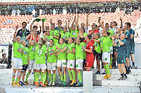 20170527 - KOELN , GERMANY : Wolfsburg's team  pictured after winning the final of the German Women's Cup 2017 - Pokal Final Frauen , a soccer women game between SC Sand and holders VfL Wolfsburg  , at the Rhein Energie Stadion , saturday 27 th Mayl 2017 . PHOTO SPORTPIX.BE | DIRK VUYLSTEKE
