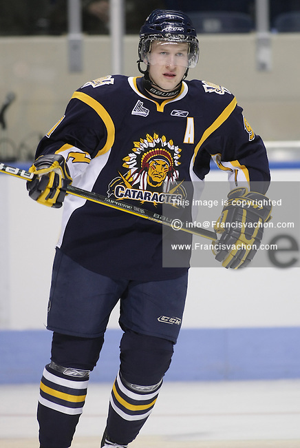 QMJHL (LHJMQ) hockey player profile photo on Shawinigan Cataractes Charles-Olivier Roussel September 19, 2009 at the Colisee Pepsi in Quebec city.