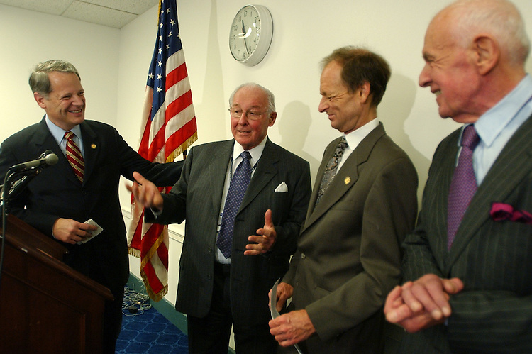From left, Rep. Steve Israel, D-N.Y., former Republican Leader Bob Michel, R-Ill., Rep. Tim Johnson, R-Ill., and Former Speaker of the House Tom Foley, D-Wash., attend a news conference on the formation of the Center Aisle Caucus.  Formed by Reps. Steve Israel, D-N.Y., and Tim Johnson, R-Ill., the Caucus will be and inter-party group of House Members committed to promote mutual respect and discourage personal attacks and achieving a more respectful and civil climate in the House.