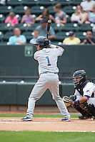 Carlos Penalver (1) of the Myrtle Beach Pelicans at bat against the Winston-Salem Dash at BB&T Ballpark on April 18, 2015 in Winston-Salem, North Carolina.  The Pelicans defeated the Dash 4-1 in game one of a double-header.  (Brian Westerholt/Four Seam Images)