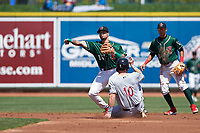 Great Lakes Loons second baseman Jacob Amaya (15) throws to first base over David Fry (10) on a double play attempt during a Midwest League game against the Wisconsin Timber Rattlers at Dow Diamond on May 4, 2019 in Midland, Michigan. Great Lakes defeated Wisconsin 5-1. (Zachary Lucy/Four Seam Images)
