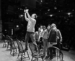 """Marc dela Cruz, Elizabeth Judd, Greg Treco, Terrance Spencer, Anthony Lee Medina, Sasha Hollinger with Lin-Manuel Miranda making a surprise appearance during a Q & A before The Rockefeller Foundation and The Gilder Lehrman Institute of American History sponsored High School student #EduHam matinee performance of """"Hamilton"""" at the Richard Rodgers Theatre on 3/20/2019 in New York City."""