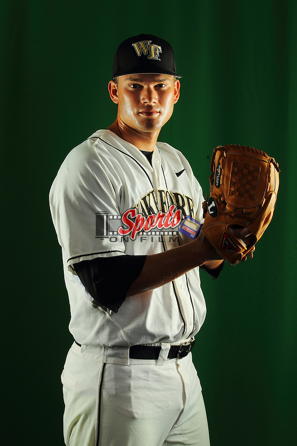Austin Stadler (9) poses during a photo session at Wake Forest Baseball Park on January 15, 2013 in Winston-Salem, North Carolina.    (Brian Westerholt/Sports On Film)