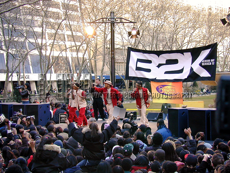 © WALTER McBRIDE / , USA...B2K.MARCH 11, 2002.TAKES OVER BRYANT PARK WITH A FREE PERFORMANCE FOR THEIR FANS TO CELEBRATE THEIR DEBUT CD RELEASE.B2B AND PERFORM THEIR NUMBER ONE SELLING SINGLE UH-HUH..NEW YORK CITY.CREDIT ALL USES