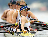 Poznan, POLAND.  2006, FISA, Rowing World Cup, GBR W8+, cox  Caroline O'CONNER. guides the shell onto the starting pontoon for the semi-final fri afternoon on the  'Malta Regatta course;  Poznan POLAND, Fri. 16.06.2006. © Peter Spurrier   ....[Mandatory Credit Peter Spurrier/ Intersport Images] Rowing Course:Malta Rowing Course, Poznan, POLAND