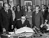 Le Premier Ministre du Quebec Jean-Jacques Bertrand lors du remaniement ministeriel <br /> du 23 juillet 1969<br /> <br /> Photo : Photo Moderne - © Agence Quebec Presse