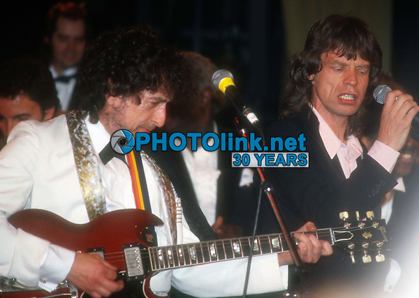 Bob Dylan and Mick Jagger 1988<br /> Rock and Roll Hall of Fame<br /> Photo By John Barrett/PHOTOlink