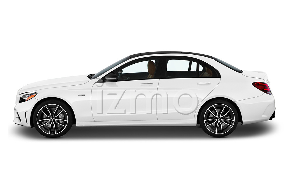 Car driver side profile view of a 2019 Mercedes Benz C-CLass 43-AMG 4 Door Sedan