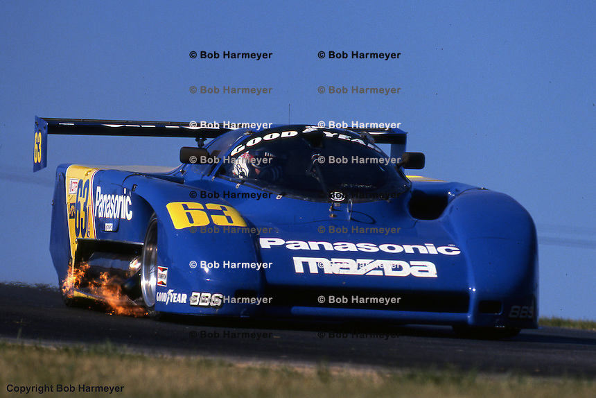 The Argo-Mazda of Jim Downing-Howard Katz races at the 1988 IMSA event at Mid-Ohio Sports Car Course, Lexington, Ohio.