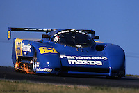 The Argo-Mazda of Jim Downing-Howard Katz races at the 1988 IMSA event at Mid-Ohio Sports Car Course, Lexington, Ohio.