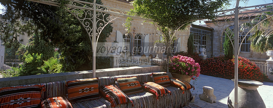 Asie/Israël/Judée/Jérusalem: Hotel American Colony - la terrasse dominant le patio