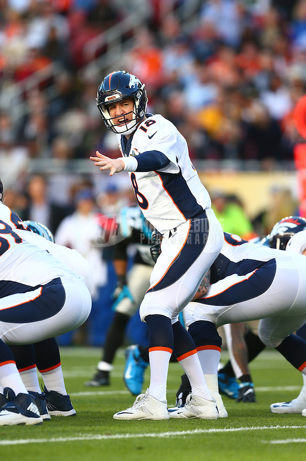 Feb 7, 2016; Santa Clara, CA, USA; Denver Broncos quarterback Peyton Manning (18) reacts against the Carolina Panthers in Super Bowl 50 at Levi's Stadium. Mandatory Credit: Mark J. Rebilas-USA TODAY Sports