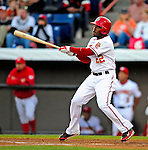 18 March 2009: Washington Nationals' outfielder Willie Harris in action during a Spring Training game against the Florida Marlins at Space Coast Stadium in Viera, Florida. The Marlins defeated the Nationals 7-5 in the Grapefruit League matchup. Mandatory Photo Credit: Ed Wolfstein Photo