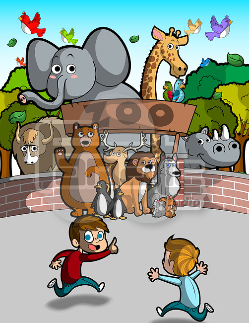 Illustration of boy running in front of zoo