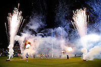 Fireworks and flames go off as the Bath Rugby run out onto the field. Aviva Premiership match, between Bath Rugby and Gloucester Rugby on February 5, 2016 at the Recreation Ground in Bath, England. Photo by: Rogan Thomson / JMP for Onside Images