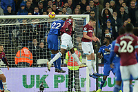 Lucas Of West Ham United heads wide during West Ham United vs Cardiff City, Premier League Football at The London Stadium on 4th December 2018
