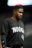 Chattanooga Lookouts Ibandel Isabel (45) during a Southern League game against the Birmingham Barons on May 1, 2019 at Regions Field in Birmingham, Alabama.  Chattanooga defeated Birmingham 5-0.  (Mike Janes/Four Seam Images)