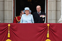 HM Queen Elizabeth II &amp; Prince Philip, Duke of Edinburgh on the balcony of Buckingham Palace following the Trooping of the Colour Ceremony celebrating the Queen's official birthday. London, UK. <br /> 17 June  2017<br /> Picture: Steve Vas/Featureflash/SilverHub 0208 004 5359 sales@silverhubmedia.com