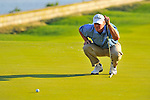 30 August 2009: Steve Stricker lines up his putt on the 18th hole during the final round of The Barclays PGA Playoffs at Liberty National Golf Course in Jersey City, New Jersey.