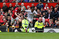 Pictured: Wayne Routledge (R).<br /> Sunday 12 May 2013<br /> Re: Barclay's Premier League, Manchester City FC v Swansea City FC at the Old Trafford Stadium, Manchester.