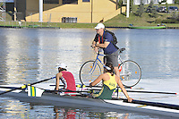 Poznan, POLAND,   AUS W2X  with coah on the pontoon left, Pippa SAVAGE and Sally KEYOE, FISA World Rowing Championships. held on the Malta Rowing lake, Thursday  20/08/2009 [Mandatory Credit. Peter Spurrier/Intersport Images]