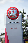 Vauxhall dealership sign. Car sales dealership, Ransomes Europark, Ipswich, Suffolk, England