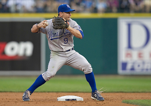 August 30, 2011:  Kansas City Royals second baseman Johnny Giavotella (#9) turns the double play during MLB game action between the Kansas City Royals and the Detroit Tigers at Comerica Park in Detroit, Michigan.  The Tigers defeated the Royals 2-1.