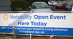 Banner advert for Motability Open Event at car showroom, UK