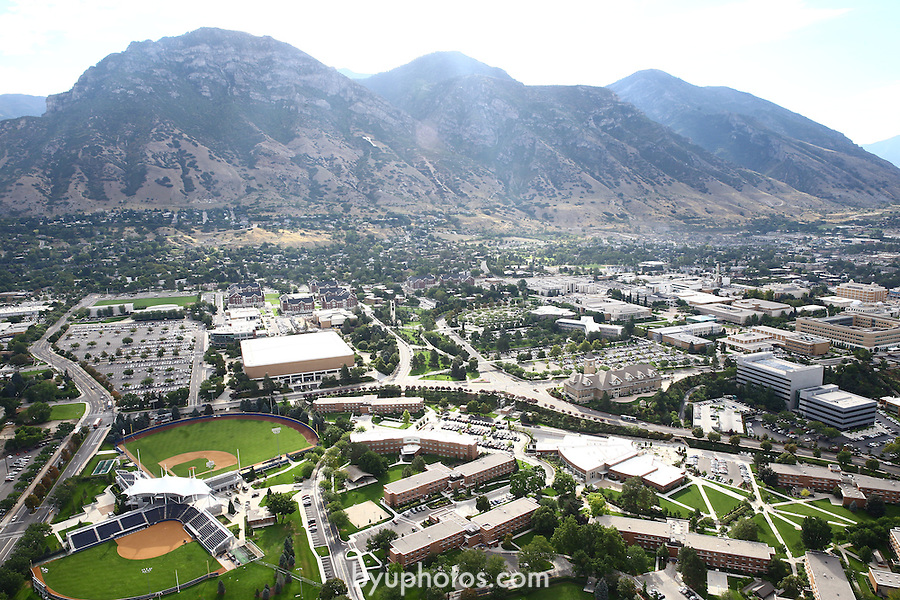 1309-22 0293<br /> <br /> 1309-22 BYU Campus Aerials<br /> <br /> Brigham Young University Campus West looking East, Provo, Sunrise, Y Mountain,  Hinckley Alumni and Visitors Center HC, Tanner Building TNRB, Miller Park MLRP, Track and Field Complex TRAK, Helaman Halls HL<br /> September 6, 2013<br /> <br /> Photo by Jaren Wilkey/BYU<br /> <br /> © BYU PHOTO 2013<br /> All Rights Reserved<br /> photo@byu.edu  (801)422-7322