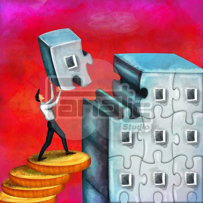 Successful businessman standing on stack of coins carrying a puzzle piece trying to complete office building