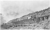 #315 with a mixed train crossing trestle #371A between Colona and Ridgway.<br /> D&amp;RGW  Ouray Branch, CO  Taken by Jackson, Richard B. - 7/5/1940
