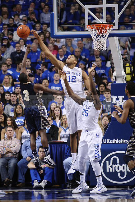 UK forward Karl-Anthony Towns blocks a shot from Montana State guard Michael Dison during UK vs. Montana State in Rupp Arena in Lexington, Ky., on Sunday, November 23,  2014. Photo by Emily Wuetcher | Staff