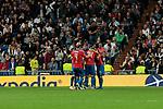 FC Viktoria Plzen's players celebrate goal during UEFA Champions League match between Real Madrid and FC Viktoria Plzen at Santiago Bernabeu Stadium in Madrid, Spain. October 23, 2018. (ALTERPHOTOS/A. Perez Meca)