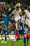 Real Madrid´s Gareth Bale and Deportivo de la Coruna's Fabricio Agosto during 2014-15 La Liga match between Real Madrid and Deportivo de la Coruna at Santiago Bernabeu stadium in Madrid, Spain. February 14, 2015. (ALTERPHOTOS/Luis Fernandez)