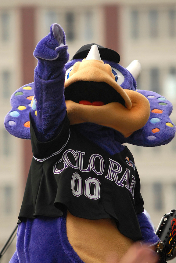 """Colorado Rockies mascot """"Dinger"""" during a downtown Denver event to celebrate the success of the Colorado Rockies' 2007 season."""