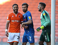 Blackpool's Liam Feeney closely marked by Rochdale's Joe Rafferty and goalkeeper Josh Lillis as they jostle for position for a corner kick<br /> <br /> Photographer Stephen White/CameraSport<br /> <br /> The EFL Sky Bet League One - Blackpool v Rochdale - Saturday 6th October 2018 - Bloomfield Road - Blackpool<br /> <br /> World Copyright &copy; 2018 CameraSport. All rights reserved. 43 Linden Ave. Countesthorpe. Leicester. England. LE8 5PG - Tel: +44 (0) 116 277 4147 - admin@camerasport.com - www.camerasport.com