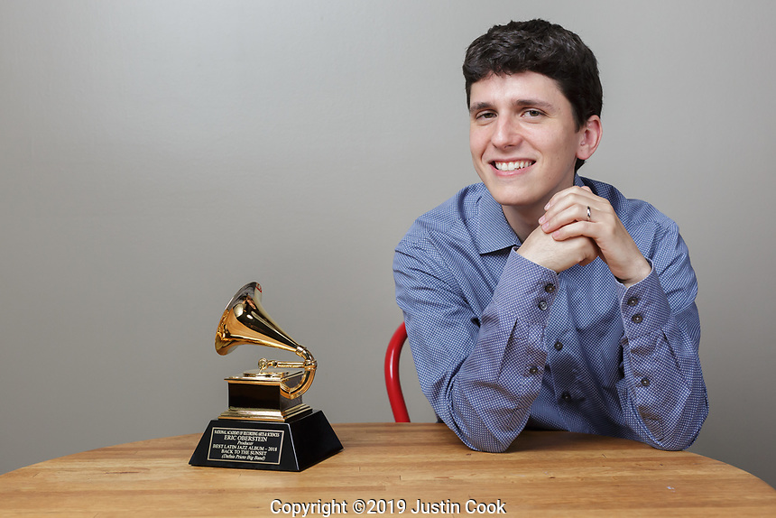 Duke Performances interim director Eric Oberstein and his Grammy award in Durham, North Carolina, Friday, June 7, 2019  (Justin Cook)