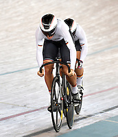 CALI – COLOMBIA – 17-02-2017: Equipo de Alemania, en la prueba Velocidad Equipos, damas,  en el Velodromo Alcides Nieto Patiño, sede de la III Valida de la Copa Mundo UCI de Pista de Cali 2017. / Germany Team, women in the Team Sprint Race at the Alcides Nieto Patiño Velodrome, home of the III Valid of the World Cup UCI de Cali Track 2017. Photo: VizzorImage / Luis Ramirez / Staff.