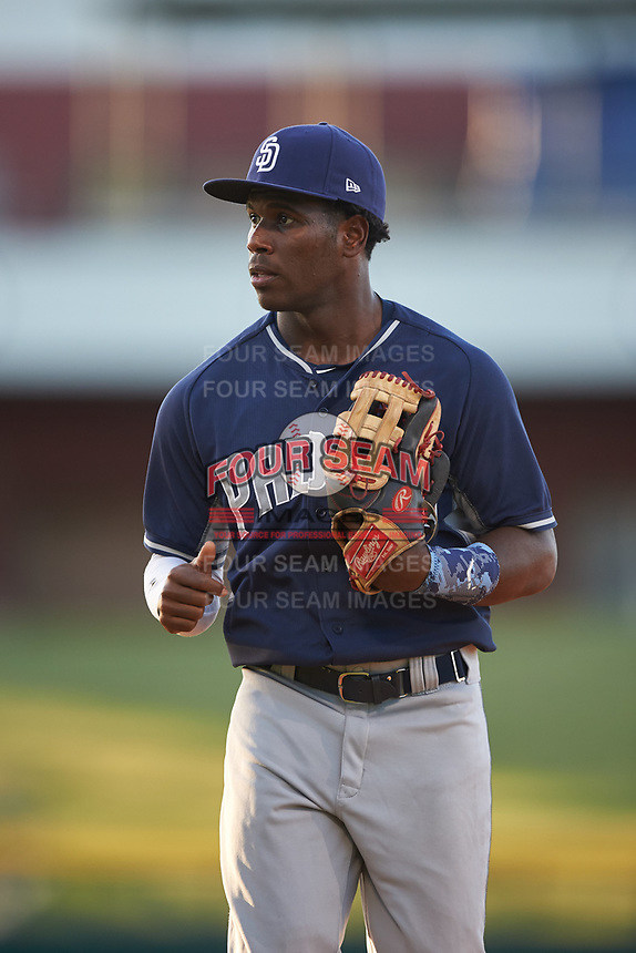 AZL Padres 1 left fielder Victor Nova (2) jogs off the field between innings of an Arizona League game against the AZL Cubs 1 on July 5, 2019 at Sloan Park in Mesa, Arizona. The AZL Cubs 1 defeated the AZL Padres 1 9-3. (Zachary Lucy/Four Seam Images)