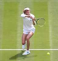 Aliaksandra Sasnovich (BLR) during her match against Simona Halep (ROU) in their Ladies' Singles First Round match<br /> <br /> Photographer Rob Newell/CameraSport<br /> <br /> Wimbledon Lawn Tennis Championships - Day 1 - Monday 1st July 2019 -  All England Lawn Tennis and Croquet Club - Wimbledon - London - England<br /> <br /> World Copyright © 2019 CameraSport. All rights reserved. 43 Linden Ave. Countesthorpe. Leicester. England. LE8 5PG - Tel: +44 (0) 116 277 4147 - admin@camerasport.com - www.camerasport.com