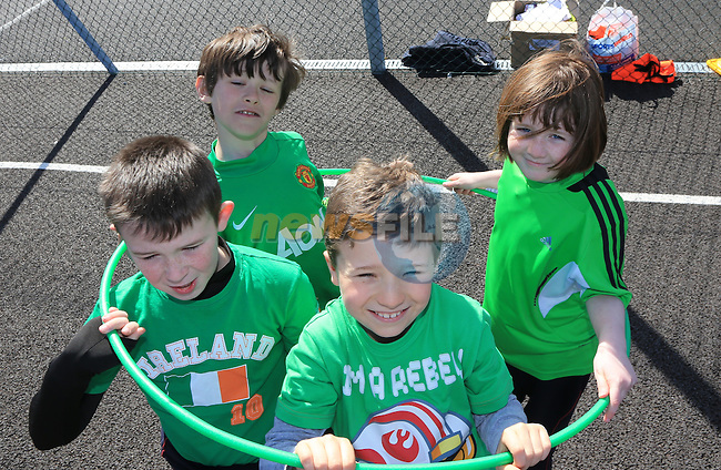 Andrew Black, Adam Marron, Sarah Coleman and Callum Sheedy.students in St Mary's Parish School taking part in Co-operative Games as part of Louth Primary Schools' Intercultural Week..Picture: Fran Caffrey / www.newsfile.ie ..