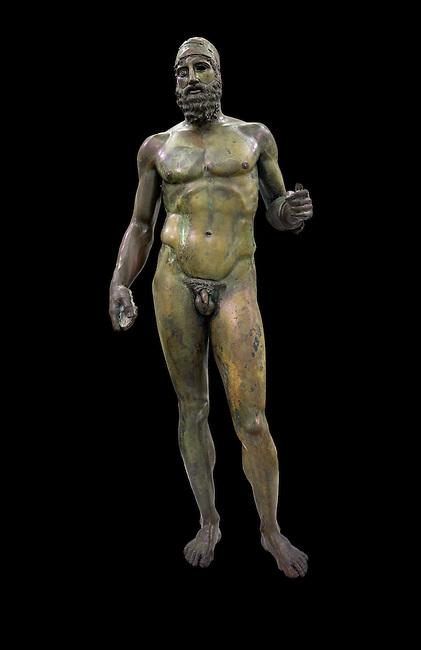 The Riace bronze Greek statues cast about 460 BC. Museo Nazionale della Magna Grecia,  Reggio Calabria, Italy.