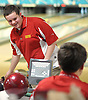 Bobby Wright of Chaminade prepares to roll during the CHSAA boys' bowling team championship against St. John the Baptist at Farmingdale Lanes on Thursday, Feb. 4, 2016. He bowled a 659 series (three games) to lead Chaminade to victory.