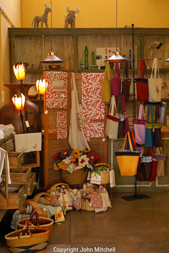 Mexican handicrafts store in  Fabrica La Aurora Art and Design Center, San Miguel de Allende, Mexico. San Miguel de Allende is a UNESCO World Heritage Site....